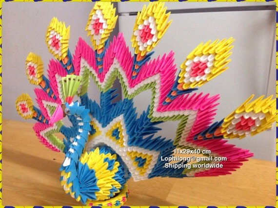 Peacock 3d origami home decoration for Home decoration meester