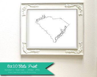 Printable South Carolina State Art Print 8x10 Digital Wall Art Gift