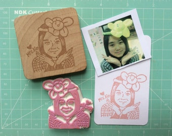 portrait stamp. custom stamp. rubber stamp. hand carved stamp. mounted