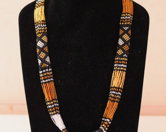Handmade Zulu Beaded Tube and Strand Necklace
