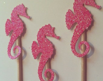 25 Hot Pink Seahorse Cupcake Toppers or Appetizer Picks for Birthday, Wedding, Shower, Ocean, Beach, Sea, Engagement, Party