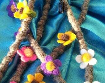 Felted flower dread beads