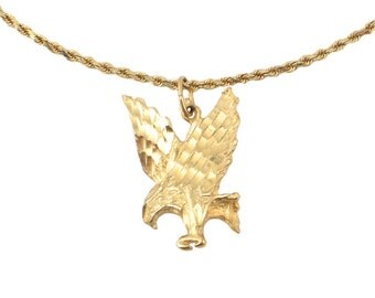 Gold eagle pendant etsy 14k gold necklace with flying eagle pendant vintage gold eagle necklace unisex necklace approx aloadofball Images