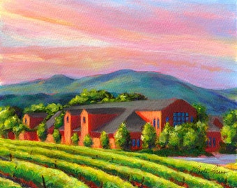 Napa valley, California vineyard landscape, vineyard painting by Paula Prass, Cakebread Winery is available as a 5x7 or 8x10 fine art print