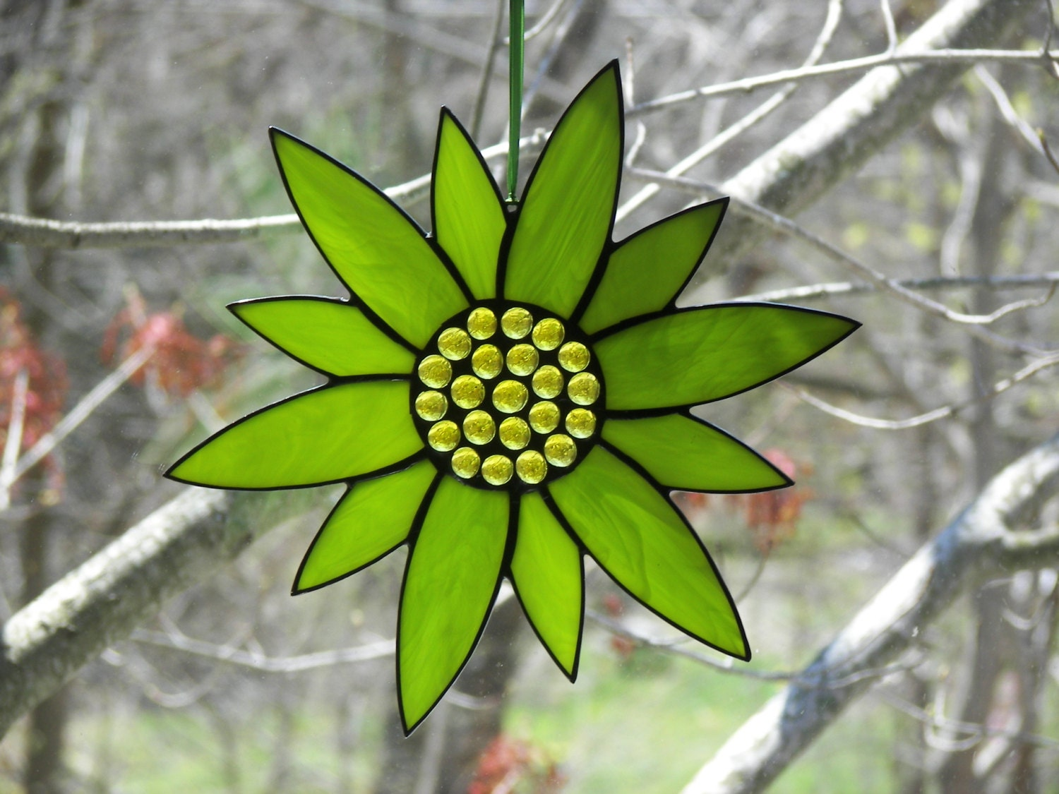 Stained Glass Flower Lime Green Stainegd Glass Suncatcher