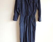 Vintage VOGLIA Dark blue Jumpsuit/ Romper with bronze buttons, zipper and pockets, size 36