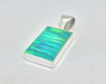 Small Green Opal Pendant // 925 Sterling Silver Setting // Green Fire Opal Pendant // Rectangle Shape Opal Pendant