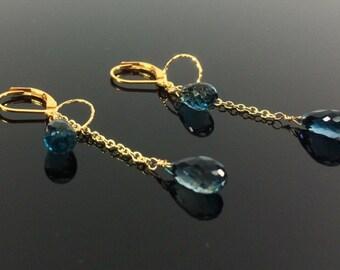 London Blue Topaz Gold Earrings // Blue Topaz Teardrop // Luxe Blue Topaz // 18k Gold chain and loop // Something Blue // Long Earrings