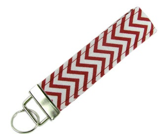Personalized Fabric Key Chain / Key Fob Red Chevron With Optional Initials