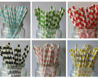 Sailor Striped  Paper Straws (25 straws Per pack) ** See below for stock levels**