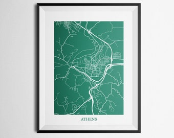 Athens, Ohio Abstract Street Map Print