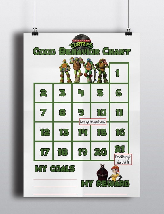 Mutant Ninja Turtles Good Behavior Sticker Chart / Incentive Chart ...