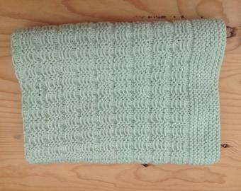 Slip stitch baby blanket, knee rug, merino wool. Hand knit.