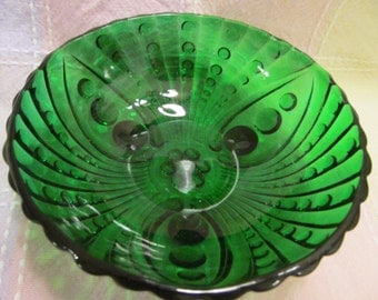 Vintage Anchor Hocking  Forrest  Green 3 footed  bowl