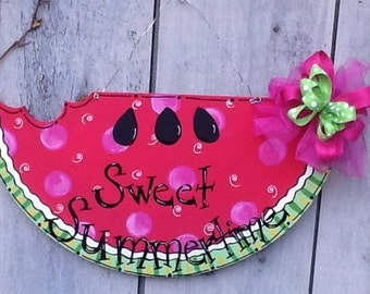 Watermelon sweet summer, welcome summer door hanger, watermelon door hanger, summer door hanger, summer sign, watermelon sign, summer decor