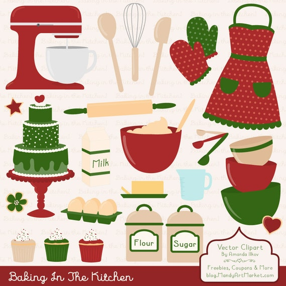 Kitchen Window Clip Art: Items Similar To Professional Christmas Baking Clipart