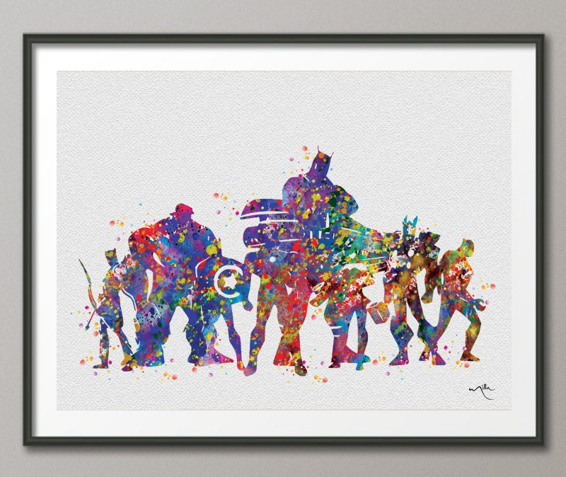Avengers Watercolor: Avengers Watercolor Art Print Nursery For Kids Wall By
