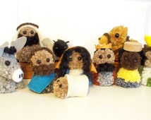 Pom-Pom Christmas Nativity Set - Mary, Joseph and Jesus, Donkey, Shepherd and Sheep, Three Wise Men and Camel