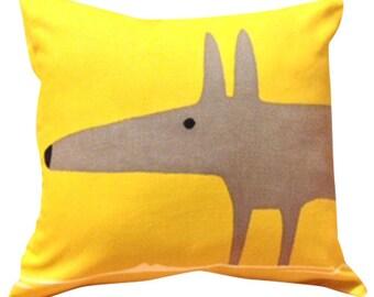 Scion Mr Fox Yellow Cushion Cover 12''