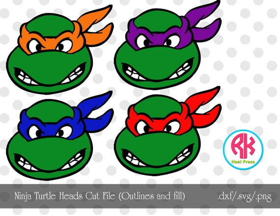 Ninja Turtle Outline Heads And Fill