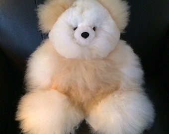 Cozy, Cuddly, Handmade, Alpaca Fur Teddy Bear Stuffed Animal - Holiday Gift idea for Birthday, Christmas and Hanukkah!
