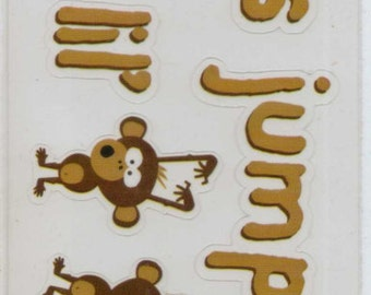 Reminisce Monkey Business MONKEYS Jumpin on a Bed Clear Self-Adhesive Stickers