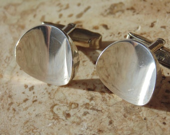 Mexican Sterling Silver Round Concave Cuff Links