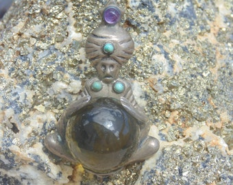 Mexico Silver Fortune Teller Brooch / Pin with Large Free-Spinning Glass Ball c. 1940's