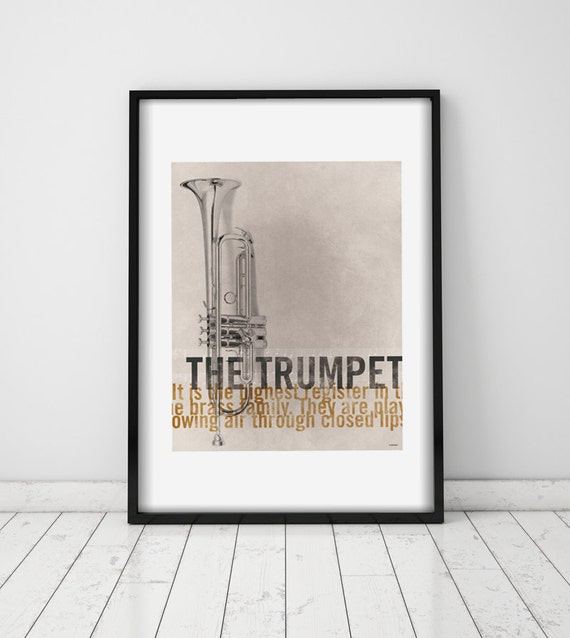 The Trumpet. Wall decor art. Poster. Illustration. Digital print. Music. Musical instrument.
