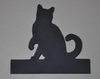 Sitting Cat - Chalkboard Wall Hanging - Leash Holder - Key Holder -