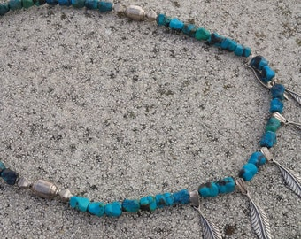 Turquoise necklace, green turquoise nuggets and sterling silver necklace 53 cm, think spring colors