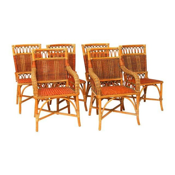 French Grange Wicker Dining Chairs Set Of 6 By ErinLaneEstate