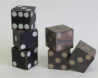 Large Wood Dice Set of 3 Your Choice of Colors! Large Playing Dice, Bunko, Game Room Accessories, Home Decor Accent, Lawn Games