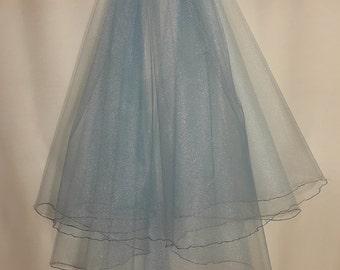 Cyan Wedding Veil, Two Layers