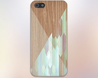 Stained Glass Geometric Wood Case, iPhone 7, iPhone 7 Plus, Rubber iPhone Case, Galaxy s8, Samsung Galaxy Case Note 5, Handmade CASE ESCAPE