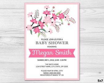 Floral Baby Shower Invitation - DIY Printable Custom Invitation: baby girl, pink, flowers, branch, green