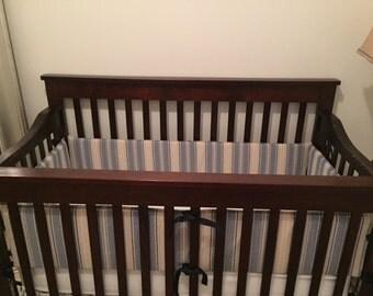 Nautical Crib bumper, Crib Bumper, Stripes Crib Bumper, baby crib bumper, Nautical Nursery Bedding