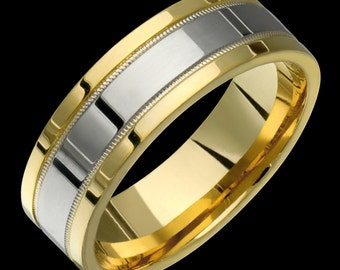 Mens Womens 7mm Two-Tone Comfort Fit 10K Solid Gold (not plated) Wedding Band Fashion Ring