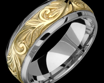 8mm Two-Tone Comfort Fit 10K Solid Gold (not plated) Wedding Band Fashion Ring