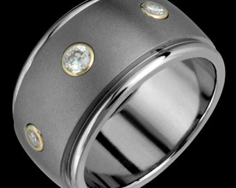 12mm Titanium & 14k Gold Diamond Ring Custom Made