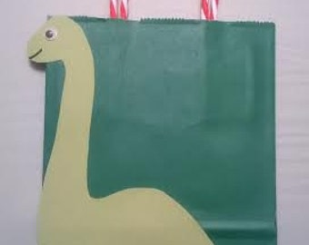 Green Dinosaur Favor Bags!- Set of 12