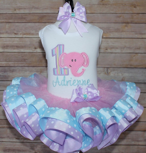 Pink Elephant 1st First Birthday Top Ribbon By