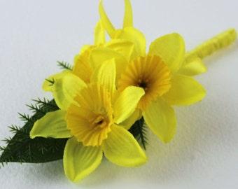Yellow Daffodil Artificial Silk Wedding Corsage   Buttonhole