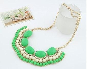 Rhinestone Bubble Bib Necklace - Green/White