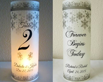 12 Personalized Wedding Centerpiece Luminaries Table Number Decoration Snowflake