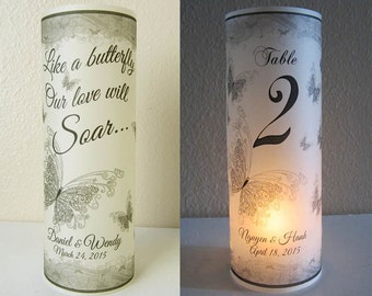 10 Personalized Wedding Centerpiece Butterfly Table Number Luminaries Decoration
