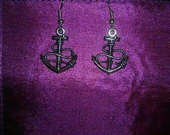 silver Anchor Earrings