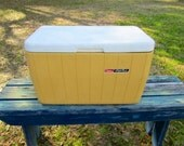 Vintage Bright Yellow Coleman Cooler / Camping / Ice Chest