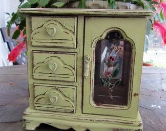 Shabby Chic Yellow Jewelry Box / Trinket Box