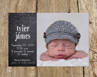 Baby Boy Photo Birth Announcement, Chalkboard stars, DIY Printable file